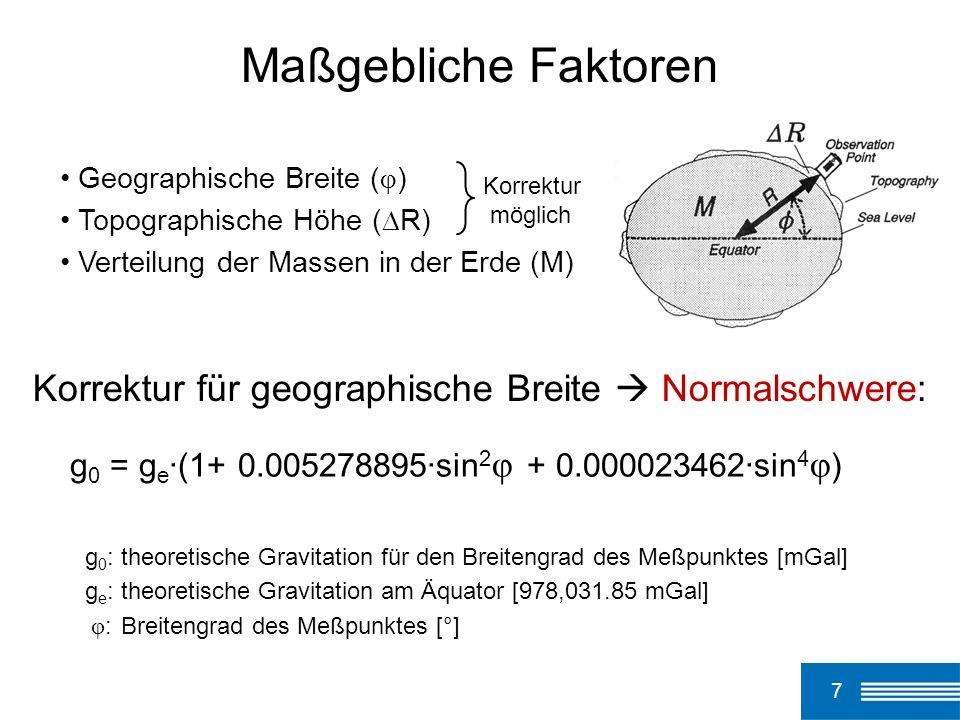7 Maßgebliche Faktoren Geographische Breite ( φ ) Topographische Höhe ( R) Verteilung der Massen in der Erde (M) Korrektur möglich g 0 = g e ·(1+ 0.00
