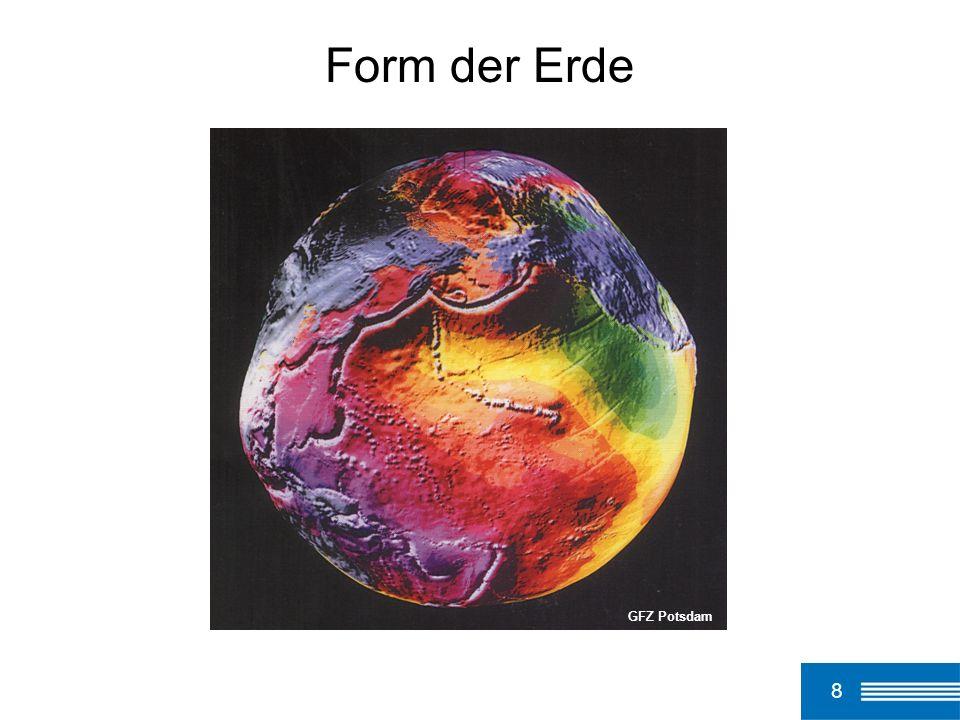 9 Geoid Physikalisches Modell der Erdfigur: Fläche gleichen Schwerepotentials (durch den mittleren Meeresspiegel der Weltmeere repräsentiert) Geometrisches Modell der Erdfigur: Ellipsoid