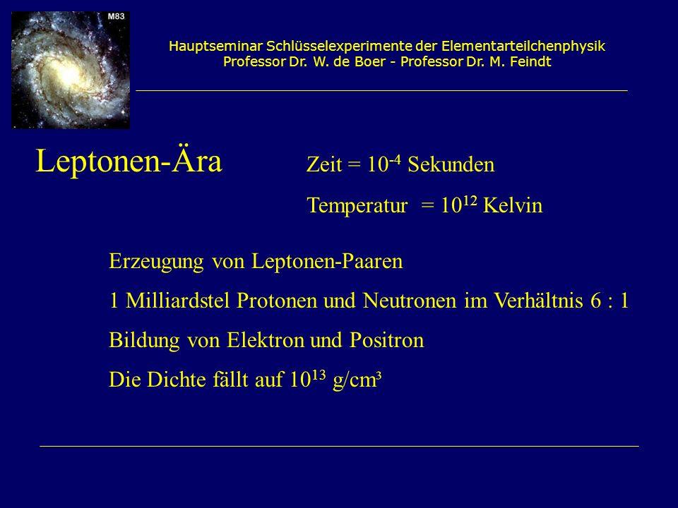 Hauptseminar Schlüsselexperimente der Elementarteilchenphysik Professor Dr. W. de Boer - Professor Dr. M. Feindt Leptonen-Ära Zeit = 10 -4 Sekunden Te