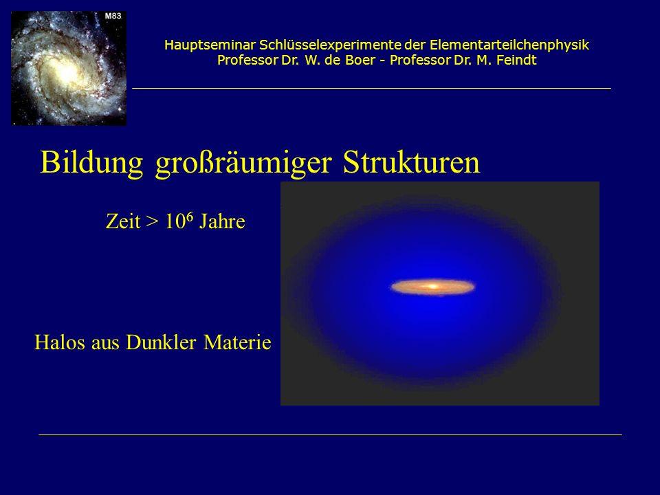 Hauptseminar Schlüsselexperimente der Elementarteilchenphysik Professor Dr. W. de Boer - Professor Dr. M. Feindt Bildung großräumiger Strukturen Zeit