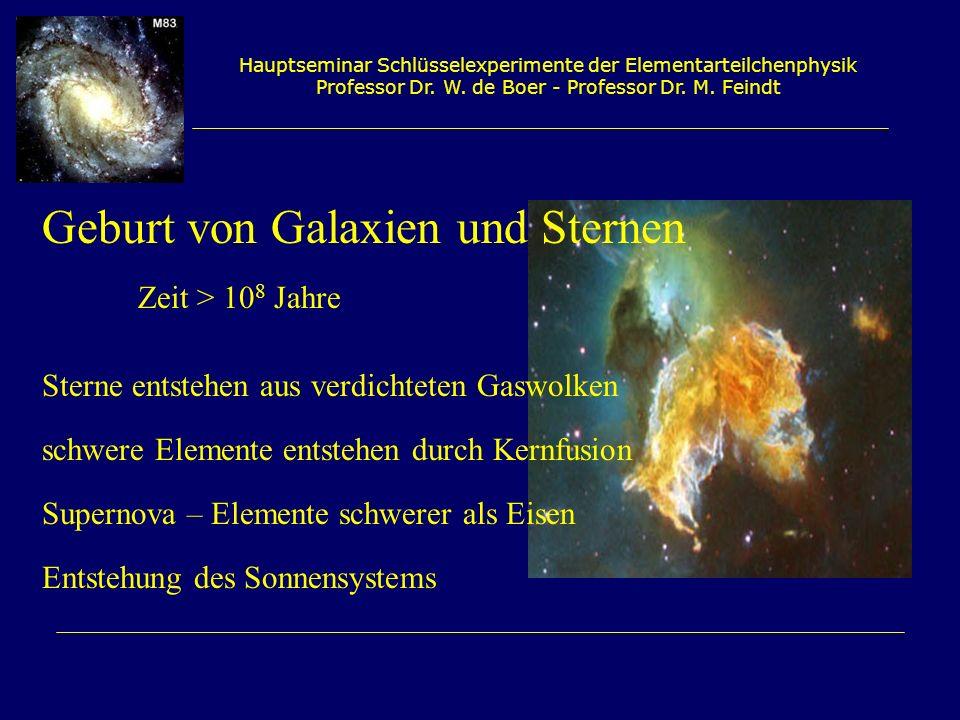 Hauptseminar Schlüsselexperimente der Elementarteilchenphysik Professor Dr. W. de Boer - Professor Dr. M. Feindt Geburt von Galaxien und Sternen Zeit