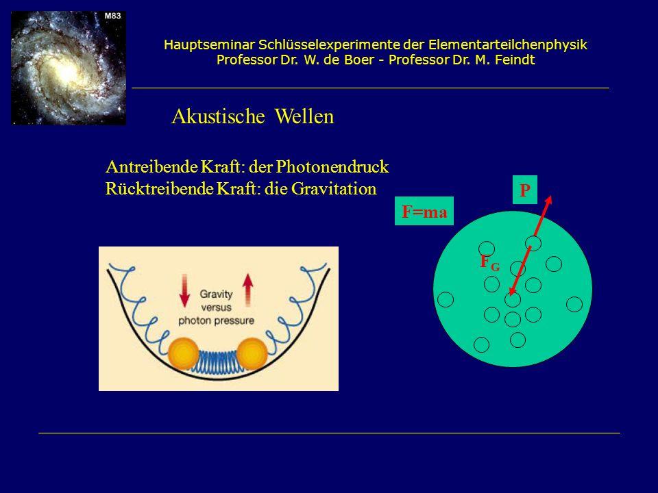 Hauptseminar Schlüsselexperimente der Elementarteilchenphysik Professor Dr. W. de Boer - Professor Dr. M. Feindt Akustische Wellen Antreibende Kraft: