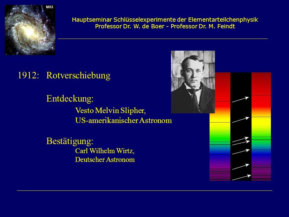 Hauptseminar Schlüsselexperimente der Elementarteilchenphysik Professor Dr. W. de Boer - Professor Dr. M. Feindt 1912: Rotverschiebung Entdeckung: Ves