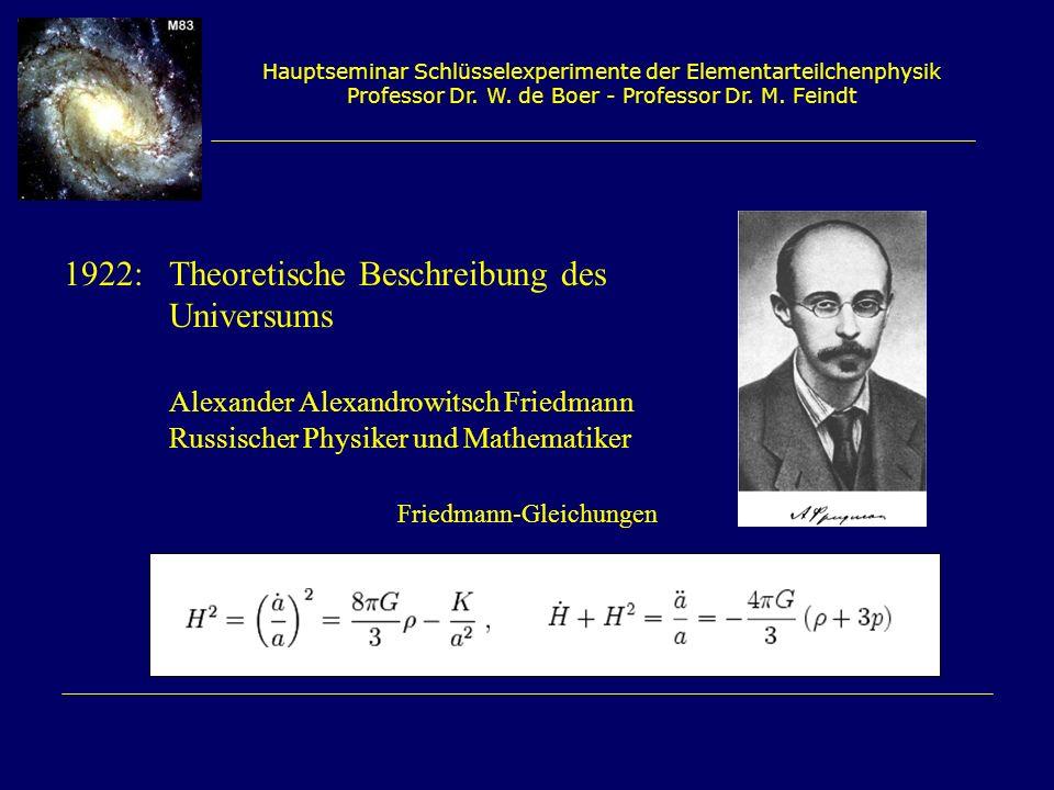 Hauptseminar Schlüsselexperimente der Elementarteilchenphysik Professor Dr. W. de Boer - Professor Dr. M. Feindt 1922: Theoretische Beschreibung des U