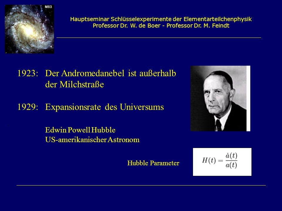 Hauptseminar Schlüsselexperimente der Elementarteilchenphysik Professor Dr. W. de Boer - Professor Dr. M. Feindt 1923: Der Andromedanebel ist außerhal