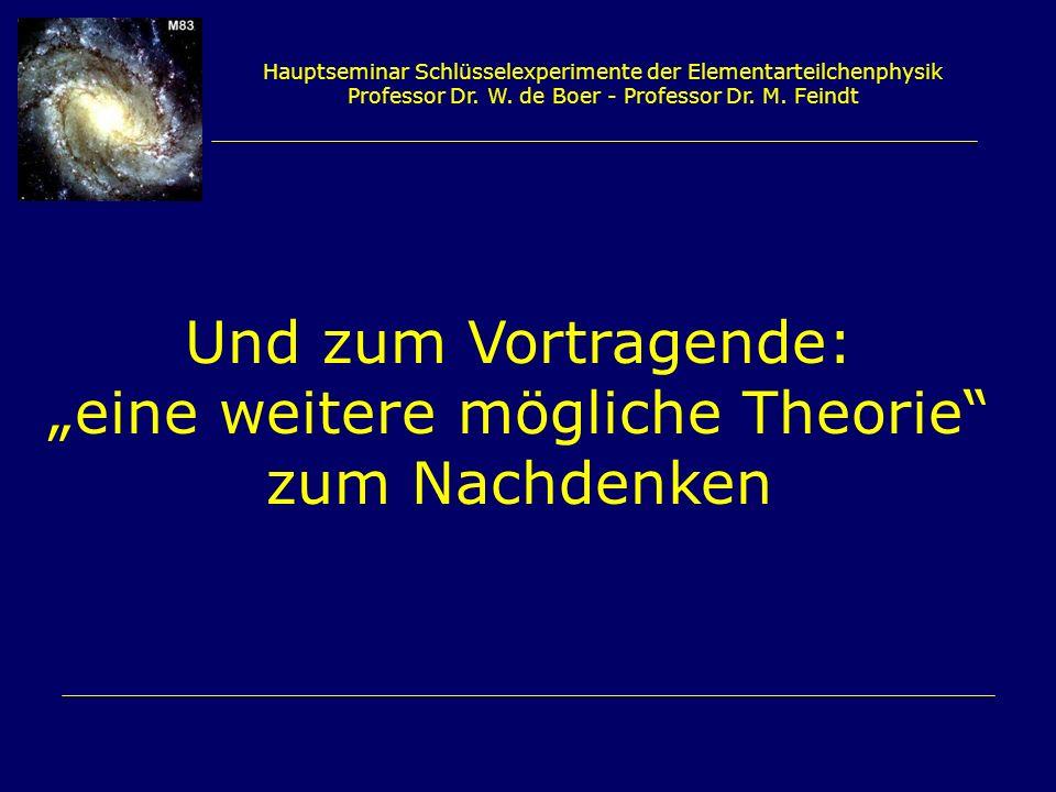 Hauptseminar Schlüsselexperimente der Elementarteilchenphysik Professor Dr. W. de Boer - Professor Dr. M. Feindt Und zum Vortragende: eine weitere mög