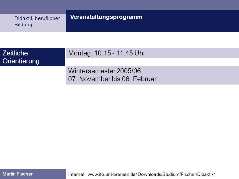 Veranstaltungsprogramm Didaktik beruflicher Bildung Martin Fischer Internet: www.itb.uni-bremen.de/ Downloads/Studium/Fischer/Didaktik1 Zeitliche Orie