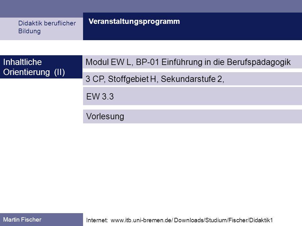 Veranstaltungsprogramm Didaktik beruflicher Bildung Martin Fischer Internet: www.itb.uni-bremen.de/ Downloads/Studium/Fischer/Didaktik1 Inhaltliche Orientierung (III) Fischer, M.: Von der Arbeitserfahrung zum Arbeitsprozeßwissen.