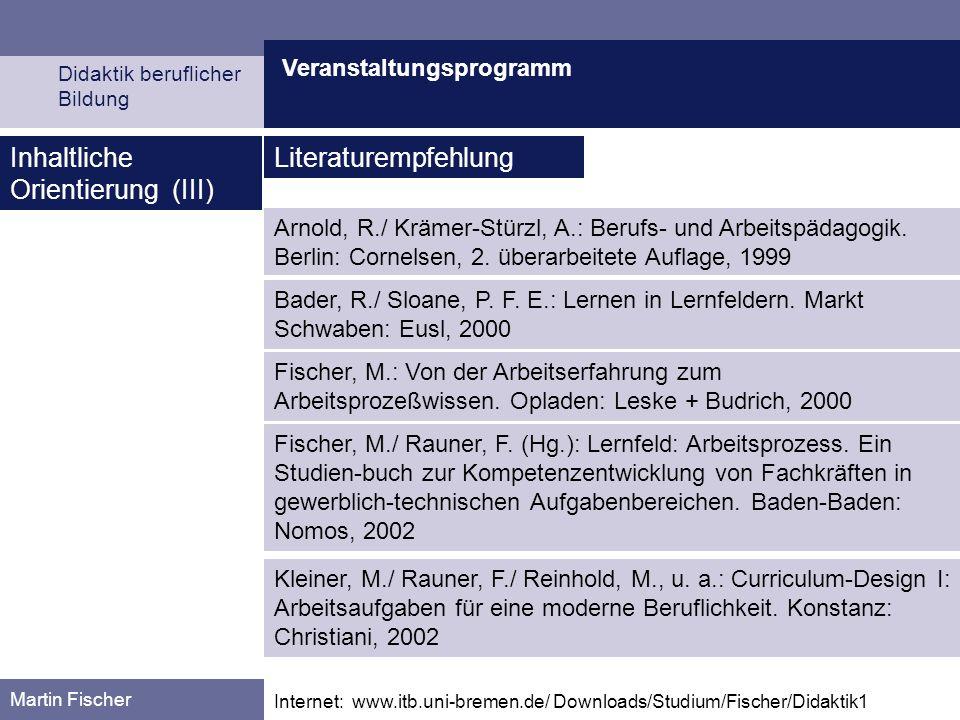 Veranstaltungsprogramm Didaktik beruflicher Bildung Martin Fischer Internet: www.itb.uni-bremen.de/ Downloads/Studium/Fischer/Didaktik1 Inhaltliche Orientierung (IV) Reinhold, M./ Haasler, B./ Howe, F./ Kleiner, M./ Rauner, F.: Curriculum-Design II: Entwickeln von Lernfeldern.