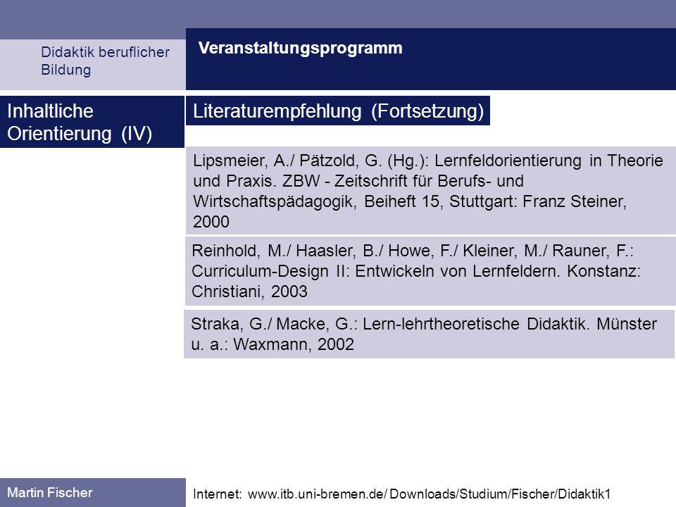 Veranstaltungsprogramm Didaktik beruflicher Bildung Martin Fischer Internet: www.itb.uni-bremen.de/ Downloads/Studium/Fischer/Didaktik1 Inhaltliche Orientierung (V) 07.11.: Einführung in das Thema: Grundprobleme didaktischen Handelns (1): Über das Verhältnis von Erfahrung und Wissen Vorläufiger Terminplan 14.11.: Grundprobleme didaktischen Handelns (2): Über das Verhältnis von Wissen und Können.