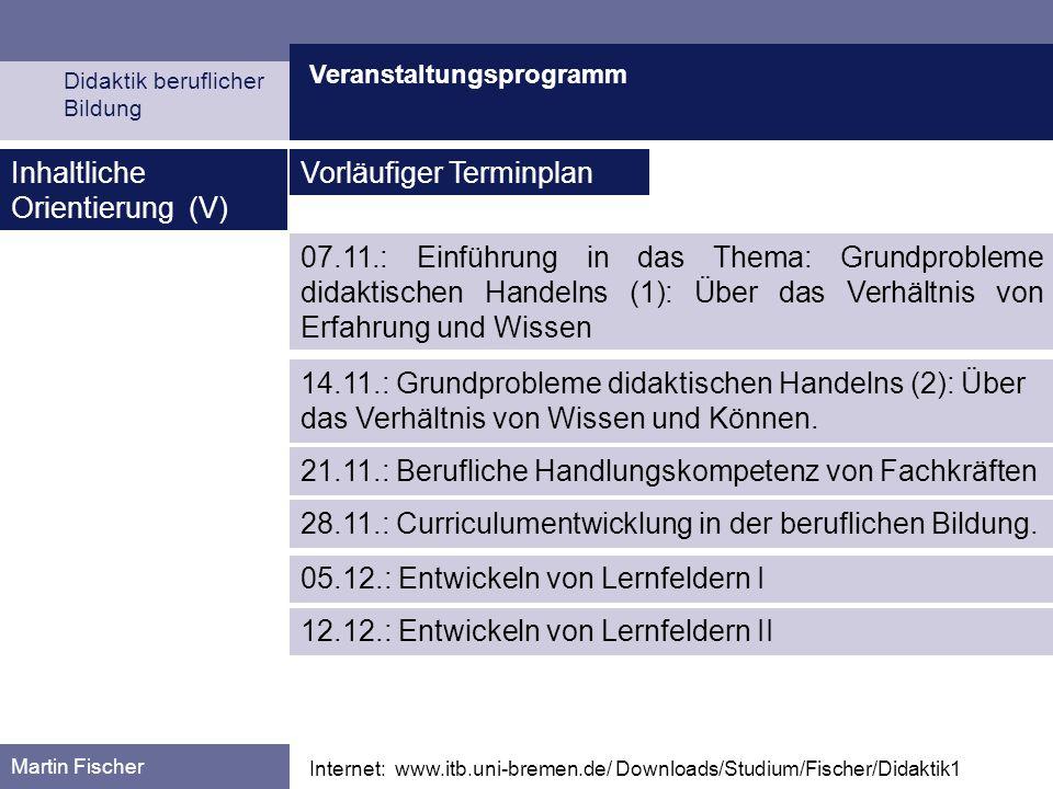 Veranstaltungsprogramm Didaktik beruflicher Bildung Martin Fischer Internet: www.itb.uni-bremen.de/ Downloads/Studium/Fischer/Didaktik1 Inhaltliche Or