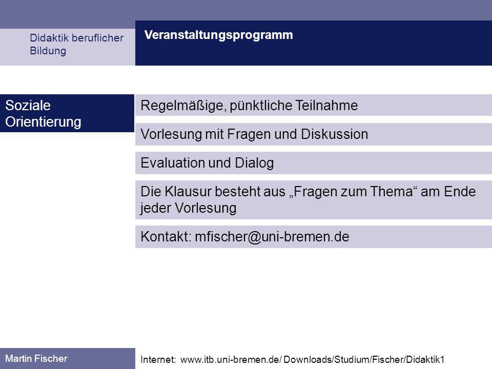 Veranstaltungsprogramm Didaktik beruflicher Bildung Martin Fischer Internet: www.itb.uni-bremen.de/ Downloads/Studium/Fischer/Didaktik1 Soziale Orient