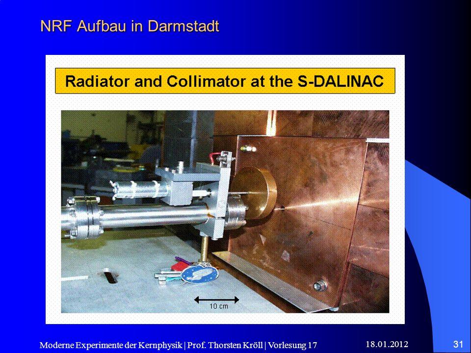 18.01.2012 Moderne Experimente der Kernphysik | Prof. Thorsten Kröll | Vorlesung 17 31 NRF Aufbau in Darmstadt