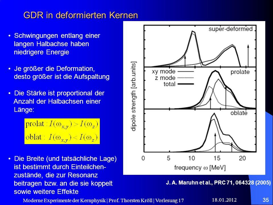 18.01.2012 Moderne Experimente der Kernphysik | Prof. Thorsten Kröll | Vorlesung 17 35 GDR in deformierten Kernen J. A. Maruhn et al., PRC 71, 064328