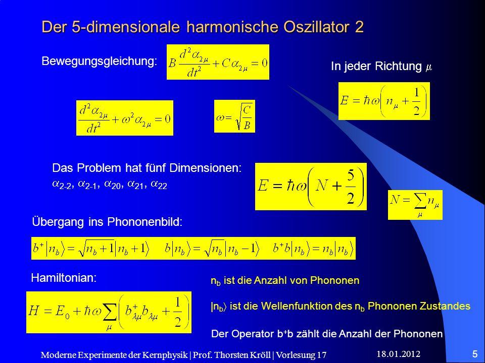 18.01.2012 Moderne Experimente der Kernphysik | Prof. Thorsten Kröll | Vorlesung 17 5 Der 5-dimensionale harmonische Oszillator 2 Bewegungsgleichung:
