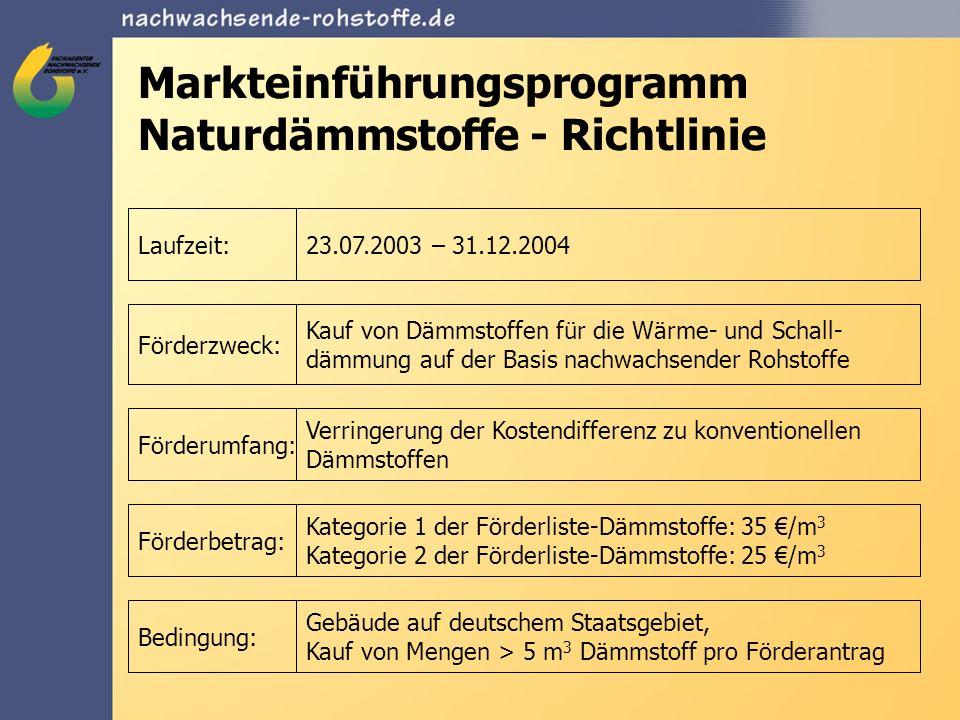 Markteinführungsprogramm Naturdämmstoffe - Richtlinie Laufzeit:23.07.2003 – 31.12.2004 Förderzweck: Kauf von Dämmstoffen für die Wärme- und Schall- dä