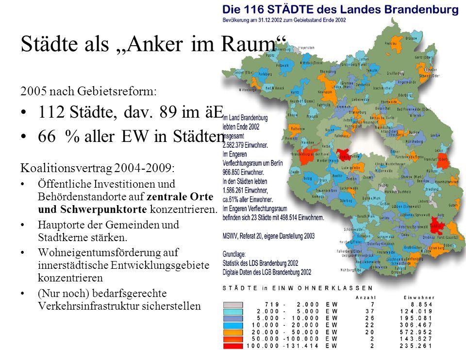 Städte als Anker im Raum 2005 nach Gebietsreform: 112 Städte, dav.