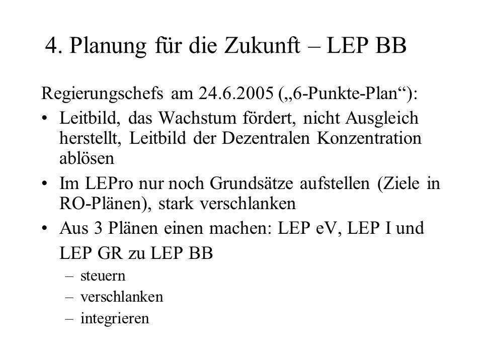 4. Planung für die Zukunft – LEP BB Regierungschefs am 24.6.2005 (6-Punkte-Plan): Leitbild, das Wachstum fördert, nicht Ausgleich herstellt, Leitbild