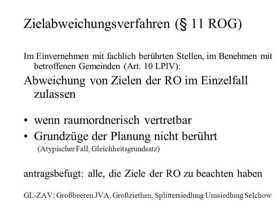 Zielabweichungsverfahren (§ 11 ROG) Im Einvernehmen mit fachlich berührten Stellen, im Benehmen mit betroffenen Gemeinden (Art.