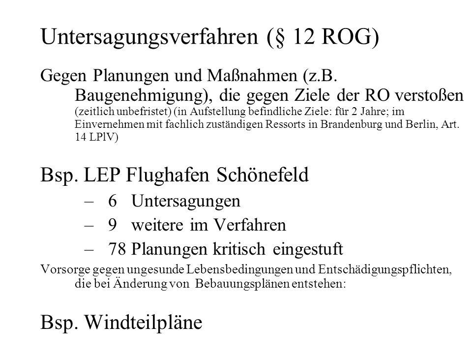 Untersagungsverfahren (§ 12 ROG) Gegen Planungen und Maßnahmen (z.B.