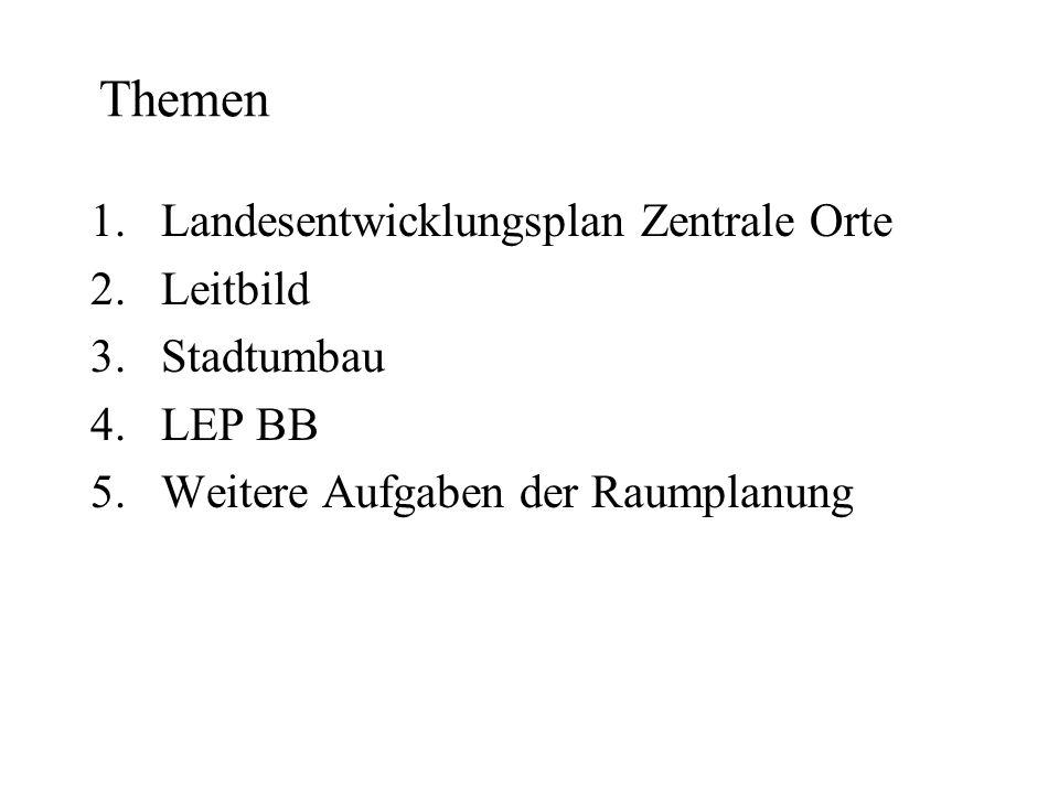 Themen 1.Landesentwicklungsplan Zentrale Orte 2.Leitbild 3.Stadtumbau 4.LEP BB 5.Weitere Aufgaben der Raumplanung