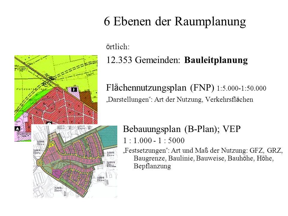 6 Ebenen der Raumplanung ö rtlich: 12.353 Gemeinden: Bauleitplanung Fl ä chennutzungsplan (FNP) 1:5.000-1:50.000 Darstellungen : Art der Nutzung, Verkehrsfl ä chen Bebauungsplan (B-Plan); VEP 1 : 1.000 - 1 : 5000 Festsetzungen : Art und Ma ß der Nutzung: GFZ, GRZ, Baugrenze, Baulinie, Bauweise, Bauh ö he, H ö he, Bepflanzung