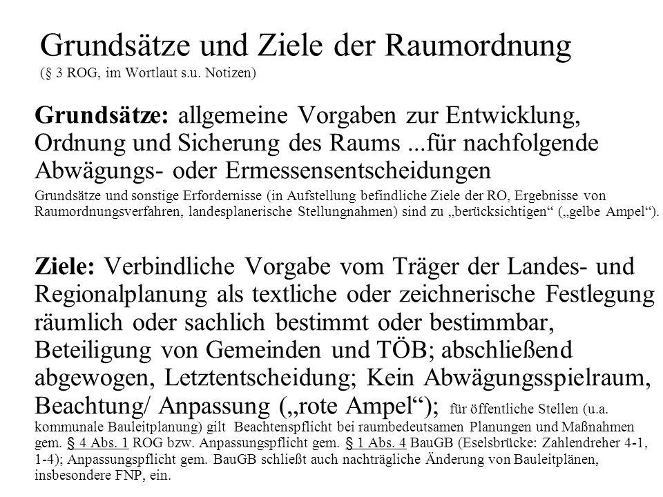 Grundsätze und Ziele der Raumordnung (§ 3 ROG, im Wortlaut s.u.