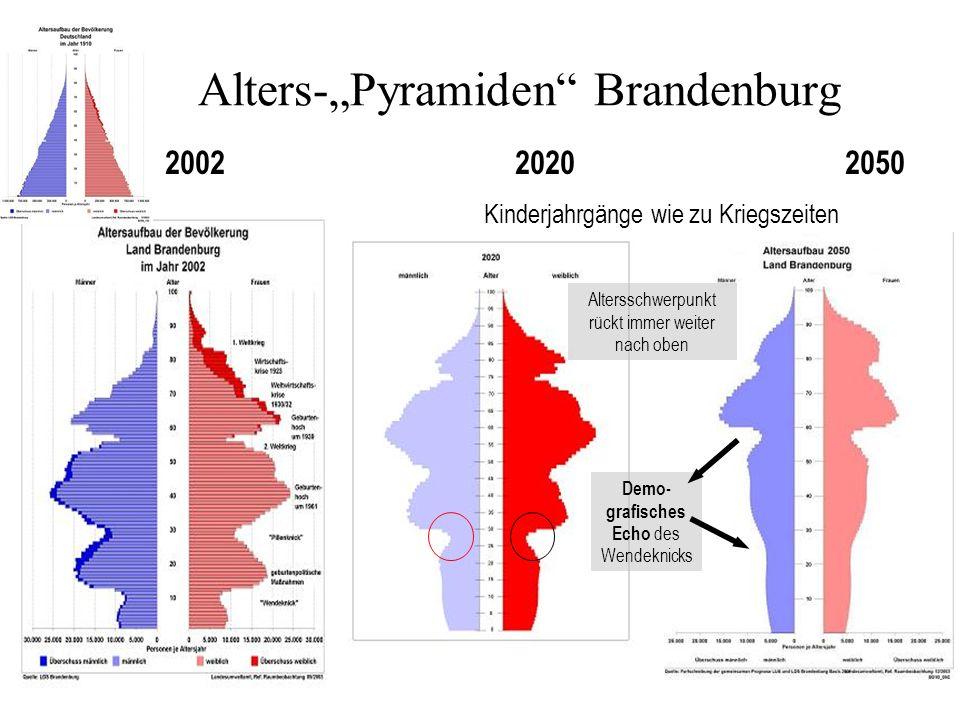 2002 2020 2050 Kinderjahrgänge wie zu Kriegszeiten Altersschwerpunkt rückt immer weiter nach oben Demo- grafisches Echo des Wendeknicks Alters-Pyramiden Brandenburg