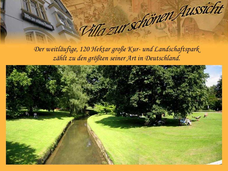 Der weitläufige, 120 Hektar große Kur- und Landschaftspark zählt zu den größten seiner Art in Deutschland.