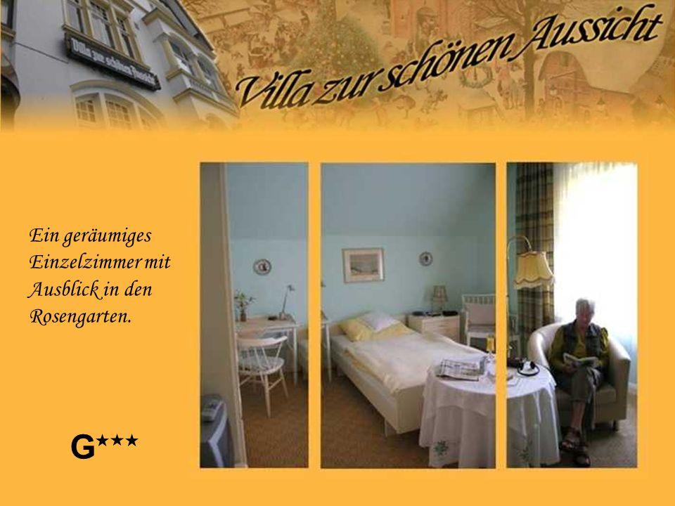 Ein geräumiges Einzelzimmer mit Ausblick in den Rosengarten. G