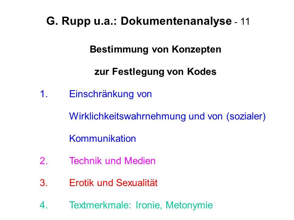 G. Rupp u.a.: Dokumentenanalyse - 11 Bestimmung von Konzepten zur Festlegung von Kodes 1. Einschränkung von Wirklichkeitswahrnehmung und von (sozialer