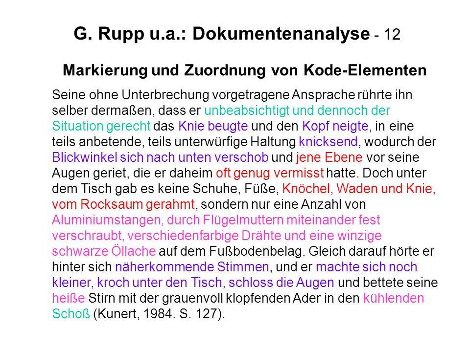 G. Rupp u.a.: Dokumentenanalyse - 12 Markierung und Zuordnung von Kode-Elementen Seine ohne Unterbrechung vorgetragene Ansprache rührte ihn selber der