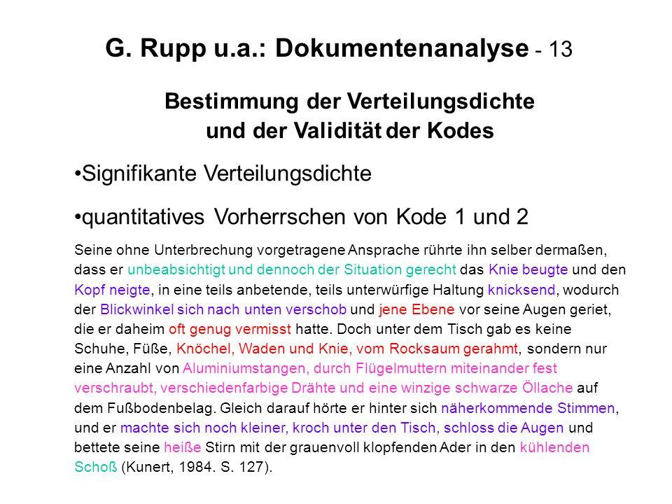 G. Rupp u.a.: Dokumentenanalyse - 13 Bestimmung der Verteilungsdichte und der Validität der Kodes Signifikante Verteilungsdichte quantitatives Vorherr