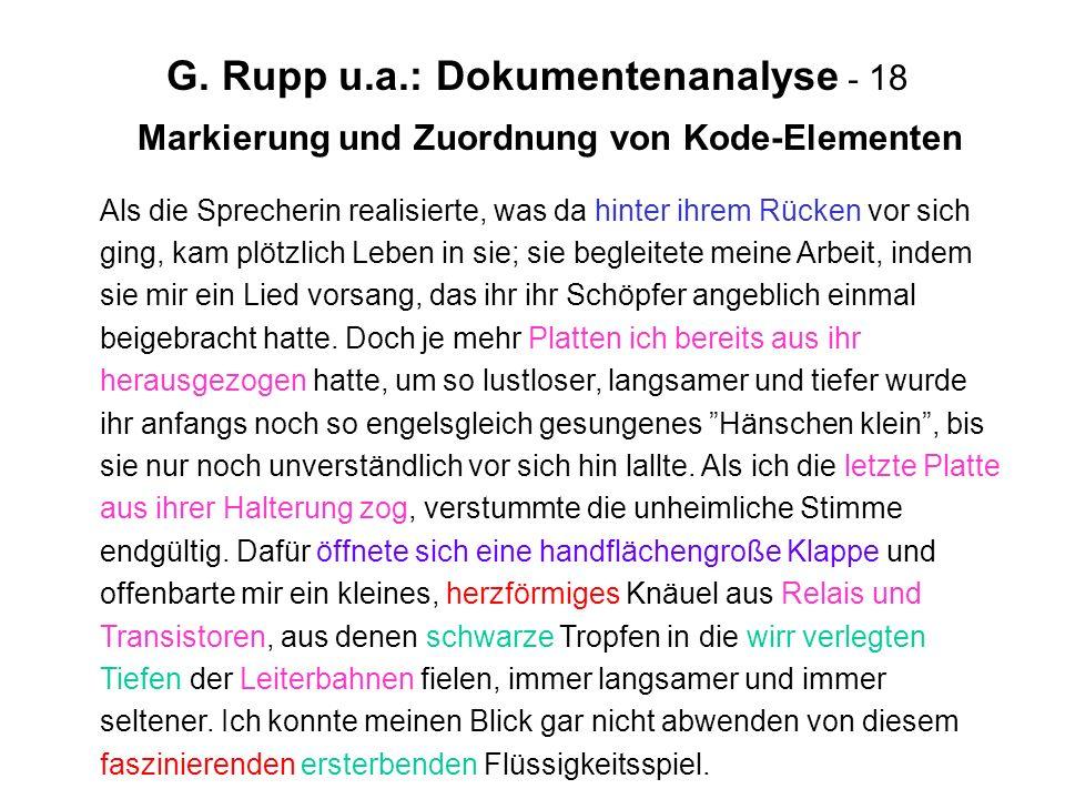 G. Rupp u.a.: Dokumentenanalyse - 18 Markierung und Zuordnung von Kode-Elementen Als die Sprecherin realisierte, was da hinter ihrem Rücken vor sich g
