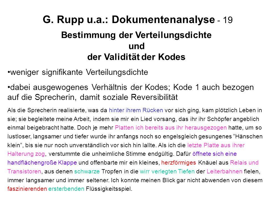 G. Rupp u.a.: Dokumentenanalyse - 19 Bestimmung der Verteilungsdichte und der Validität der Kodes weniger signifikante Verteilungsdichte dabei ausgewo
