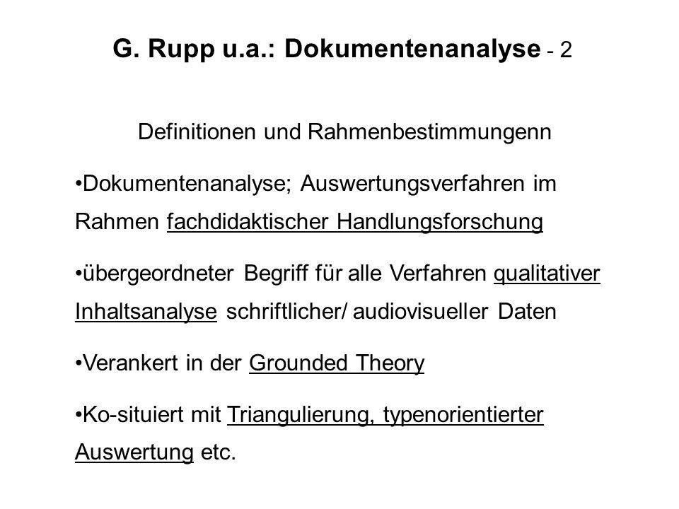 G. Rupp u.a.: Dokumentenanalyse - 2 Definitionen und Rahmenbestimmungenn Dokumentenanalyse; Auswertungsverfahren im Rahmen fachdidaktischer Handlungsf