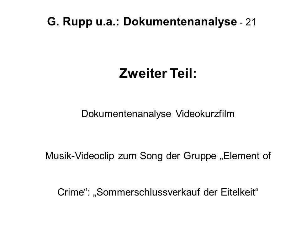 G. Rupp u.a.: Dokumentenanalyse - 21 Zweiter Teil: Dokumentenanalyse Videokurzfilm Musik-Videoclip zum Song der Gruppe Element of Crime: Sommerschluss