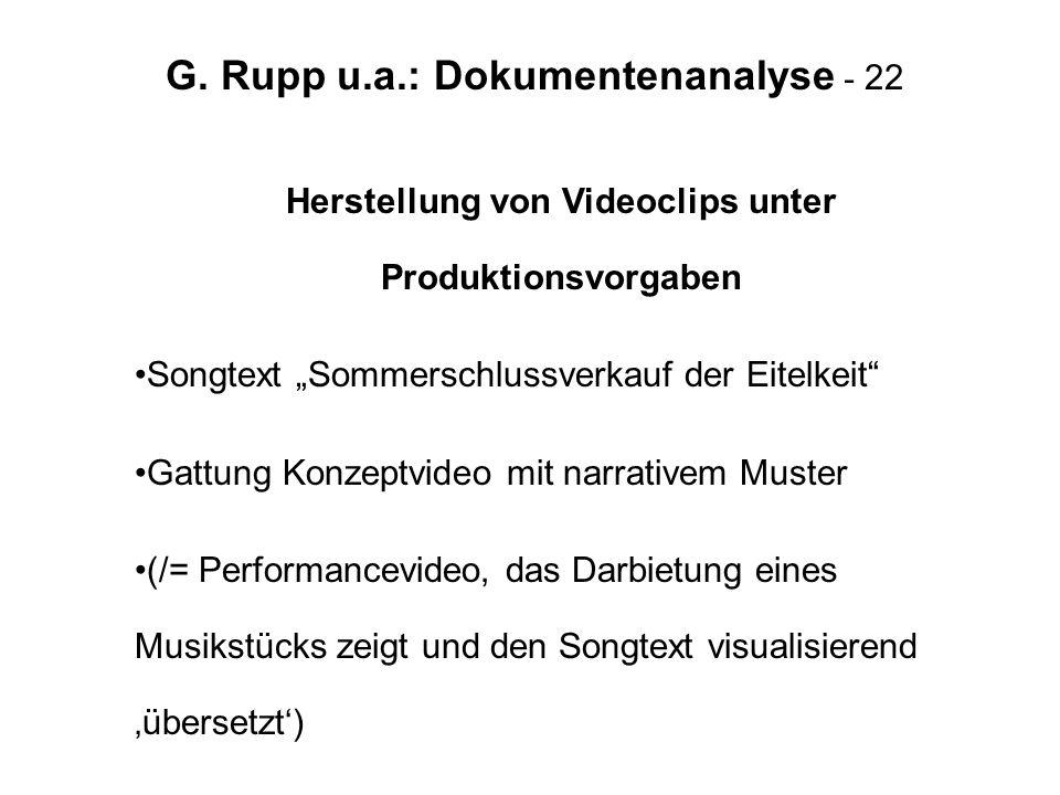 G. Rupp u.a.: Dokumentenanalyse - 22 Herstellung von Videoclips unter Produktionsvorgaben Songtext Sommerschlussverkauf der Eitelkeit Gattung Konzeptv