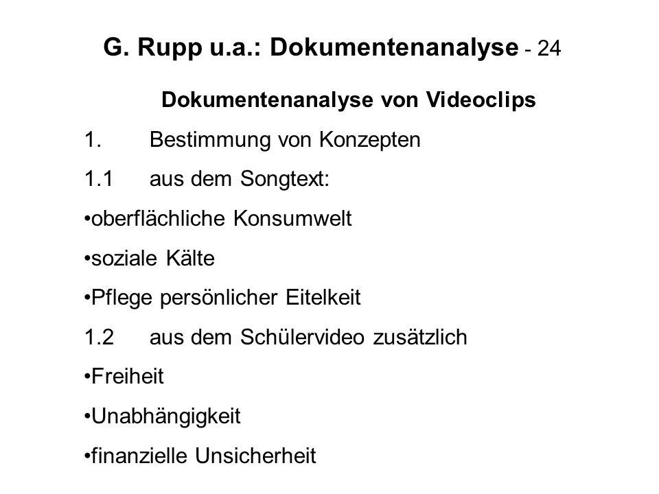 G. Rupp u.a.: Dokumentenanalyse - 24 Dokumentenanalyse von Videoclips 1.Bestimmung von Konzepten 1.1aus dem Songtext: oberflächliche Konsumwelt sozial