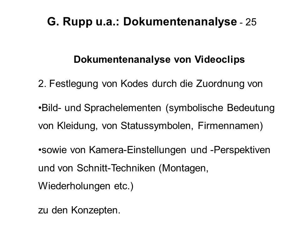 G. Rupp u.a.: Dokumentenanalyse - 25 Dokumentenanalyse von Videoclips 2. Festlegung von Kodes durch die Zuordnung von Bild- und Sprachelementen (symbo