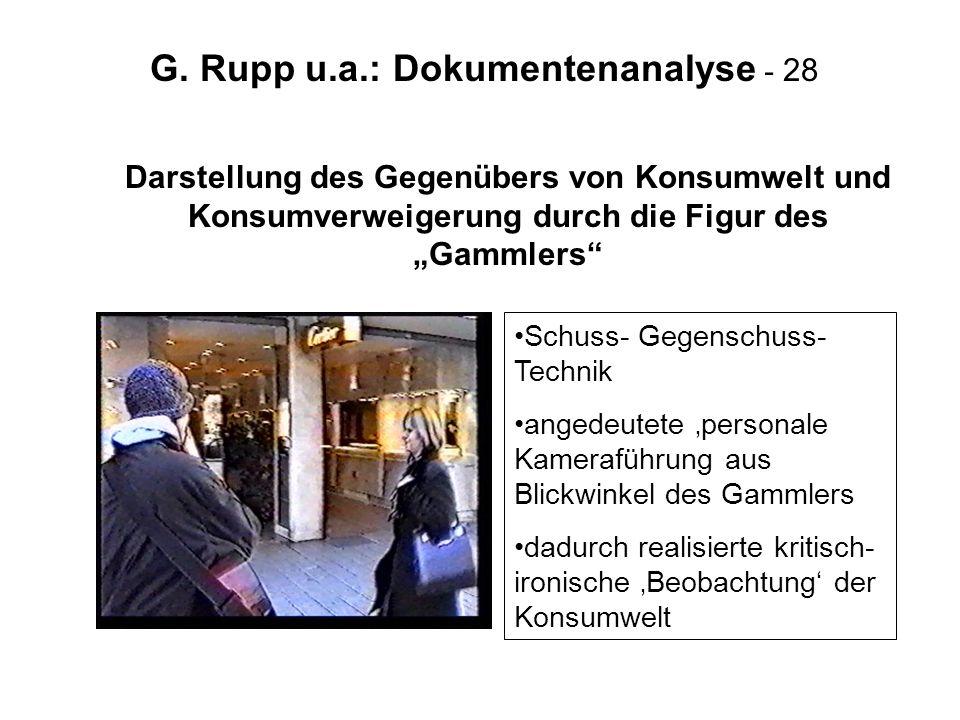 G. Rupp u.a.: Dokumentenanalyse - 28 Darstellung des Gegenübers von Konsumwelt und Konsumverweigerung durch die Figur des Gammlers Schuss- Gegenschuss