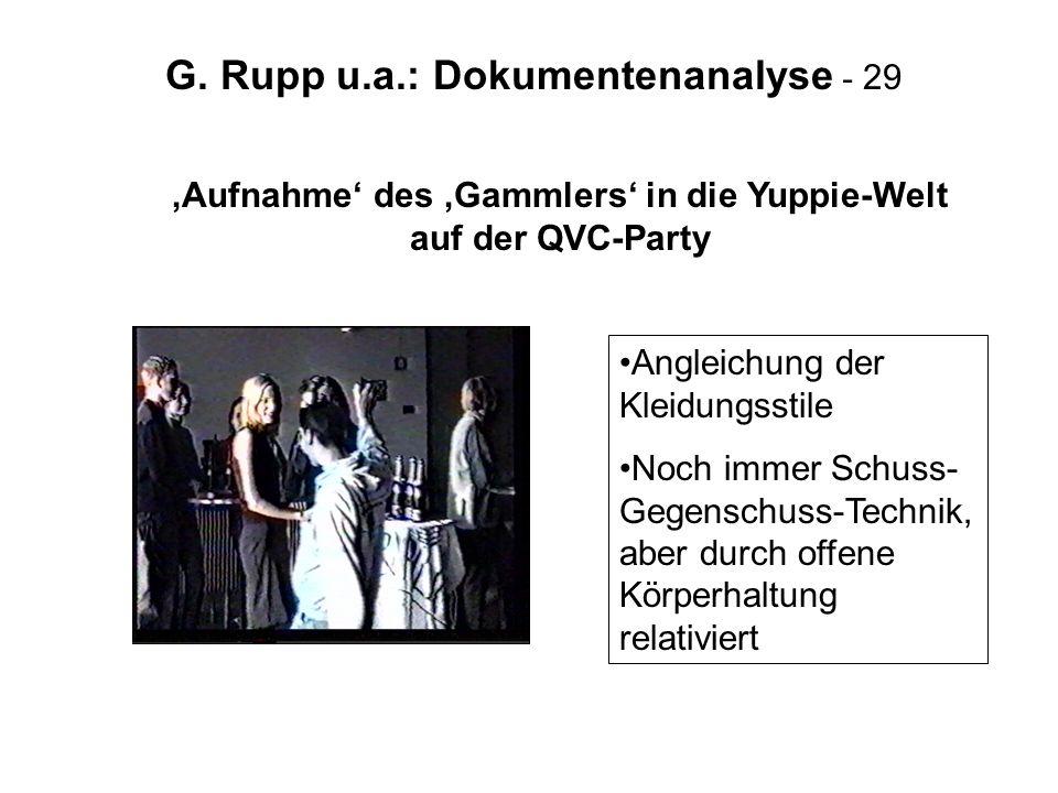 G. Rupp u.a.: Dokumentenanalyse - 29 Aufnahme des Gammlers in die Yuppie-Welt auf der QVC-Party Angleichung der Kleidungsstile Noch immer Schuss- Gege