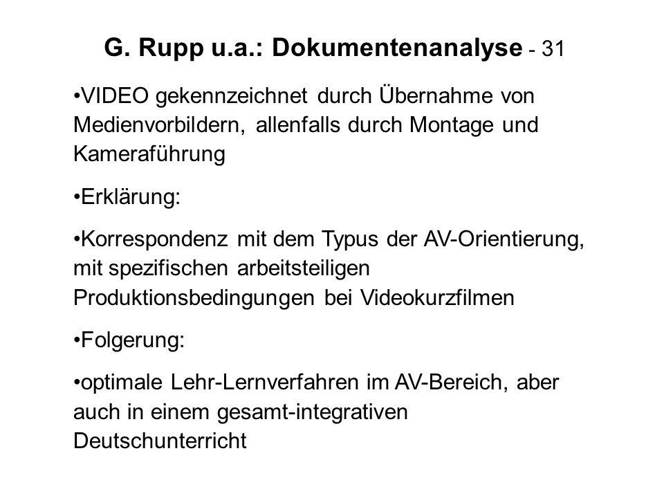 G. Rupp u.a.: Dokumentenanalyse - 31 VIDEO gekennzeichnet durch Übernahme von Medienvorbildern, allenfalls durch Montage und Kameraführung Erklärung: