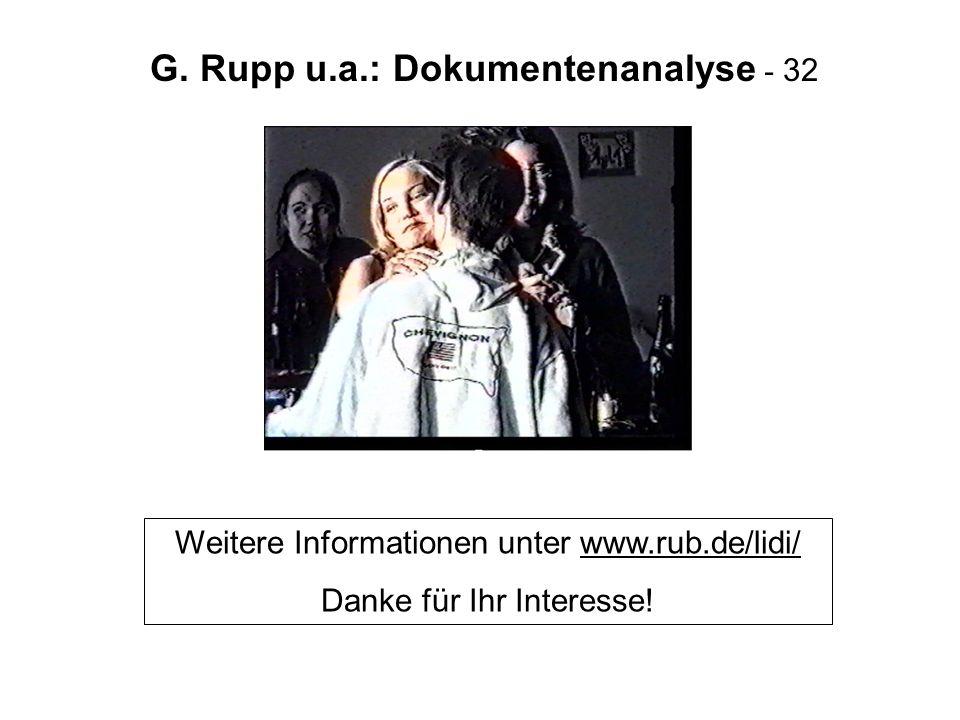 G. Rupp u.a.: Dokumentenanalyse - 32 Weitere Informationen unter www.rub.de/lidi/ Danke für Ihr Interesse!