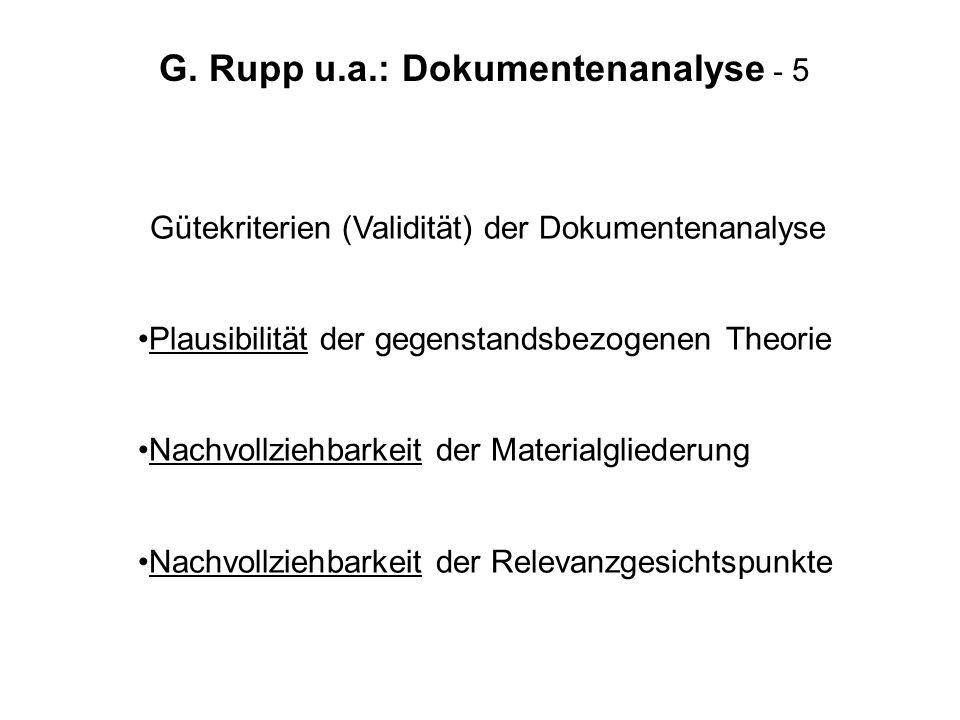G. Rupp u.a.: Dokumentenanalyse - 5 Gütekriterien (Validität) der Dokumentenanalyse Plausibilität der gegenstandsbezogenen Theorie Nachvollziehbarkeit