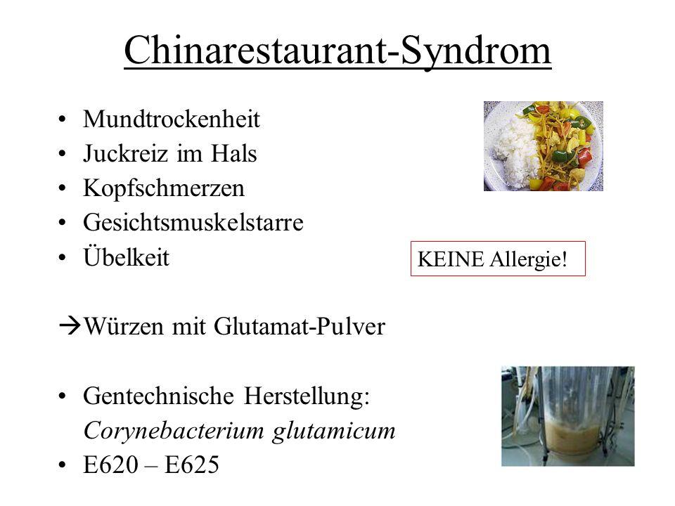 Chinarestaurant-Syndrom Mundtrockenheit Juckreiz im Hals Kopfschmerzen Gesichtsmuskelstarre Übelkeit Würzen mit Glutamat-Pulver Gentechnische Herstell