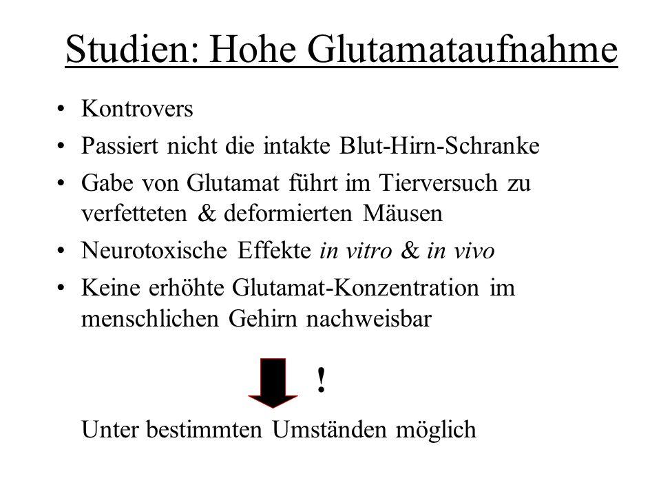 Studien: Hohe Glutamataufnahme Kontrovers Passiert nicht die intakte Blut-Hirn-Schranke Gabe von Glutamat führt im Tierversuch zu verfetteten & deform
