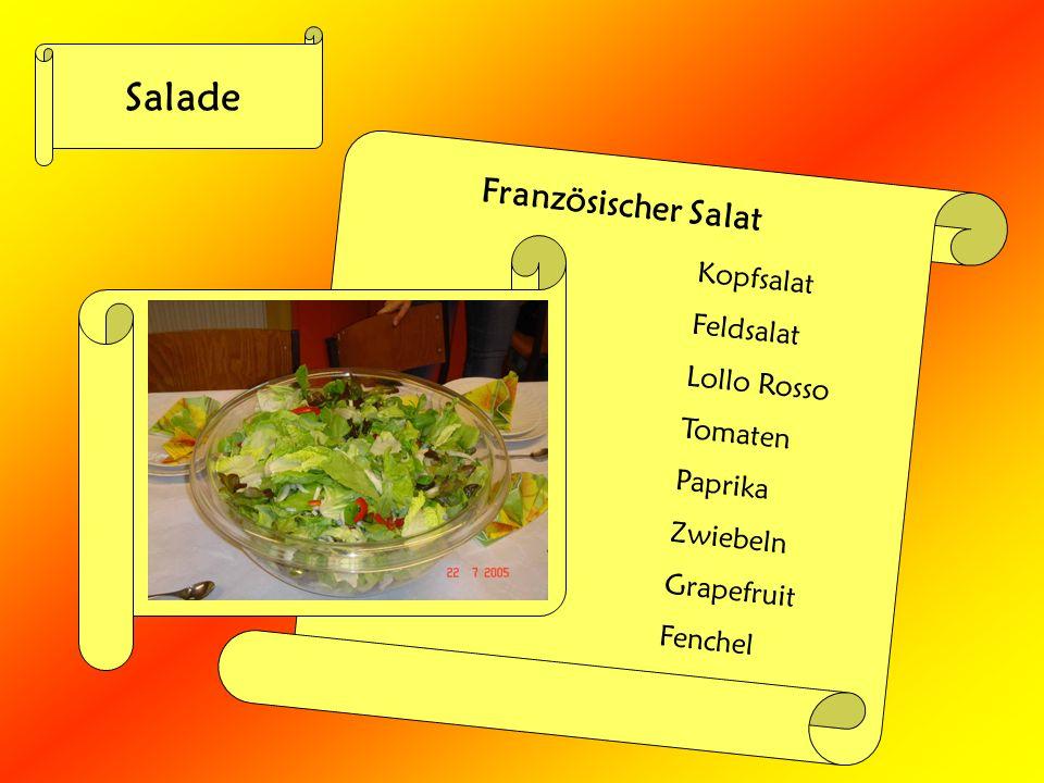 Salade Französischer Salat Kopfsalat Feldsalat Lollo Rosso Tomaten Paprika Zwiebeln Grapefruit Fenchel