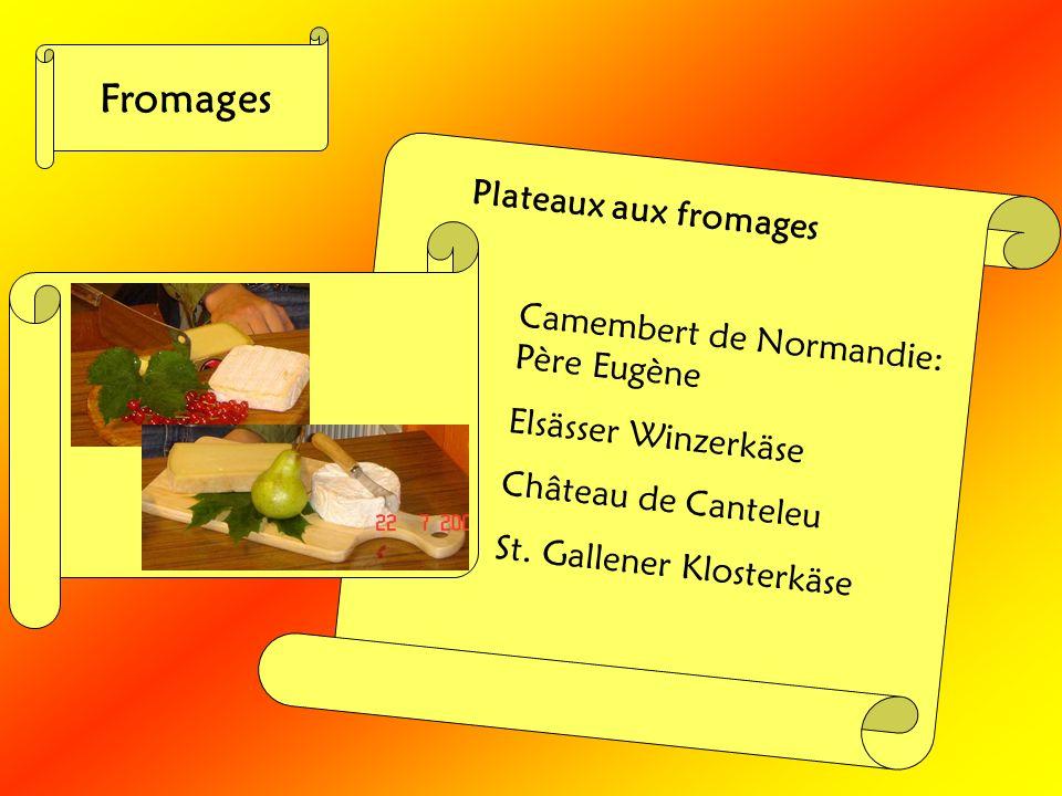 Fromages Plateaux aux fromages Camembert de Normandie: Père Eugène Elsässer Winzerkäse Château de Canteleu St. Gallener Klosterkäse
