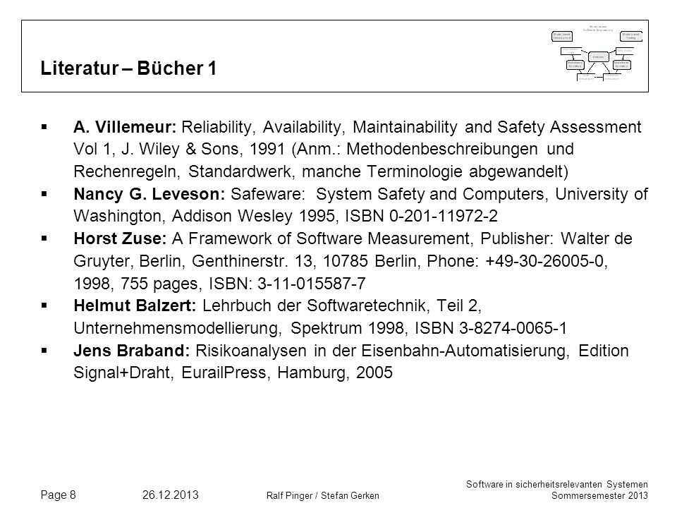 Software in sicherheitsrelevanten Systemen Sommersemester 2013 26.12.2013 Ralf Pinger / Stefan Gerken Page 8 Literatur – Bücher 1 A. Villemeur: Reliab